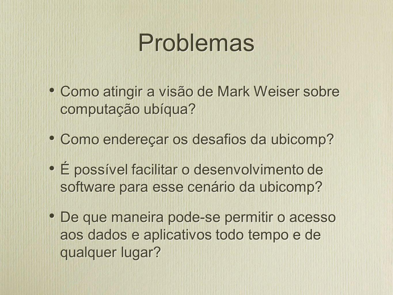 Tese defendida O uso de uma infra-estrutura de software especificamente direcionada à ubicomp pode reduzir a distância entre a visão de Weiser e o cenário atual da computação distribuída.