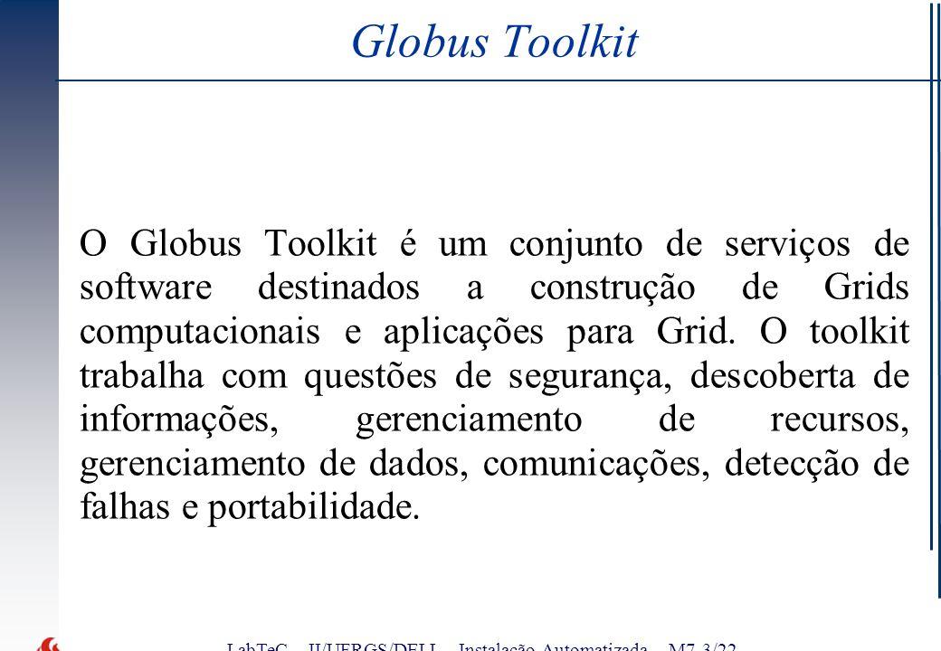 LabTeC – II/UFRGS/DELL - Instalação Automatizada – M7-3/22 Globus Toolkit O Globus Toolkit é um conjunto de serviços de software destinados a construção de Grids computacionais e aplicações para Grid.