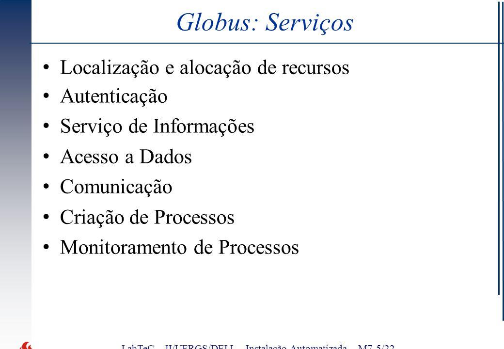 LabTeC – II/UFRGS/DELL - Instalação Automatizada – M7-5/22 Globus: Serviços Localização e alocação de recursos Autenticação Serviço de Informações Acesso a Dados Comunicação Criação de Processos Monitoramento de Processos
