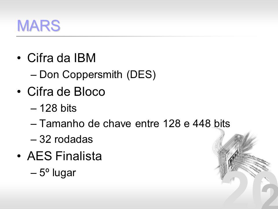 20 2 MARS Cifra da IBM –Don Coppersmith (DES) Cifra de Bloco –128 bits –Tamanho de chave entre 128 e 448 bits –32 rodadas AES Finalista –5º lugar