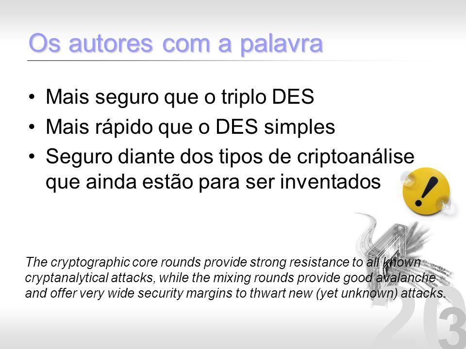 20 3 Os autores com a palavra Mais seguro que o triplo DES Mais rápido que o DES simples Seguro diante dos tipos de criptoanálise que ainda estão para
