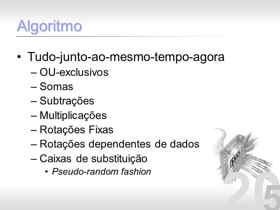 20 5 Algoritmo Tudo-junto-ao-mesmo-tempo-agora –OU-exclusivos –Somas –Subtrações –Multiplicações –Rotações Fixas –Rotações dependentes de dados –Caixa