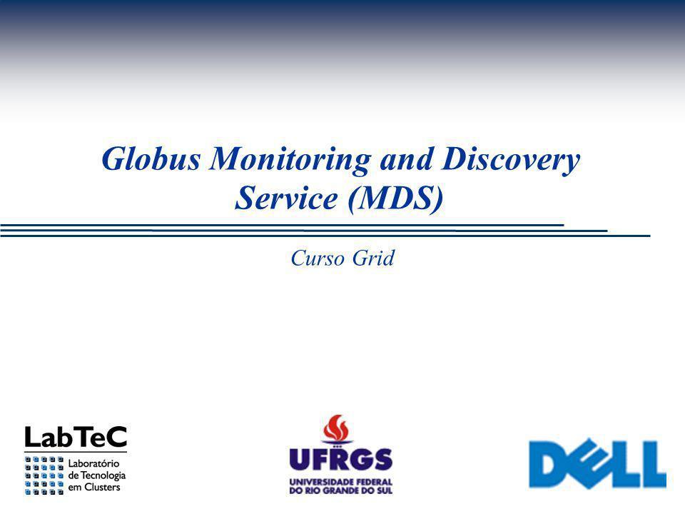 LabTeC - Curso Grid - II/UFRGS/DELL Visão Geral do MDS Tipos de informações disponibilizadas pelo MDS (2/3): Core Information Providers:  Tipo de plataforma e arquitetura  Nome e versão do sistema operacional  CPU: tipo, número de CPUs, versão, velocidade, cache, etc...