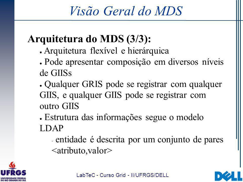 LabTeC - Curso Grid - II/UFRGS/DELL Visão Geral do MDS Arquitetura do MDS (3/3): Arquitetura flexível e hierárquica Pode apresentar composição em diversos níveis de GIISs Qualquer GRIS pode se registrar com qualquer GIIS, e qualquer GIIS pode se registrar com outro GIIS Estrutura das informações segue o modelo LDAP  entidade é descrita por um conjunto de pares
