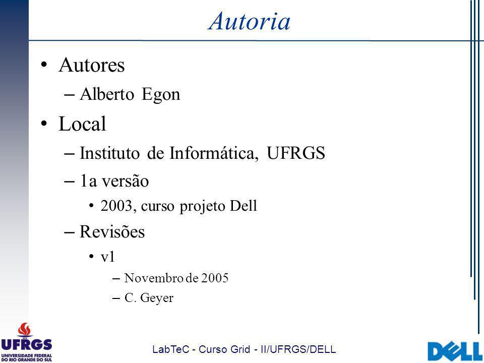 LabTeC - Curso Grid - II/UFRGS/DELL Visão Geral do MDS Tipos de informações disponibilizadas pelo MDS (3/3): Custom Information Providers:  Estender arquitetura através da criação de novos IPs: Informações não disponibilizadas pelos IPs incluídos no MDS Publicar tipos específicos de dados que possam ser necessários por determinada aplicação  Especificação pode ser obtida no site do Globus: http://www.globus.org/mds/creating_new_providers.pdf