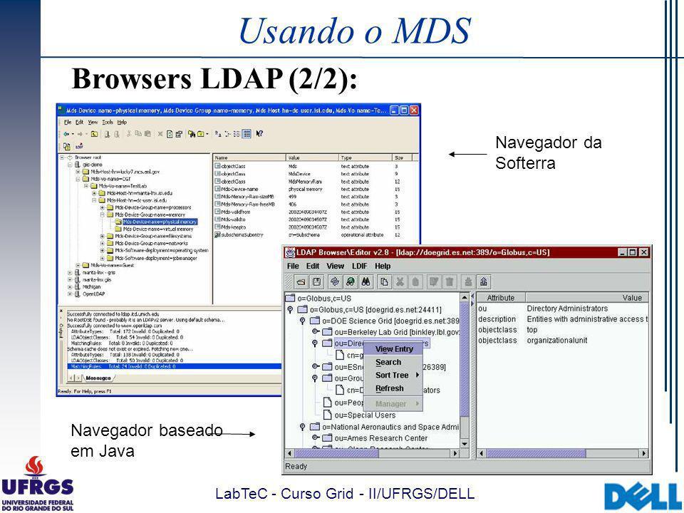 LabTeC - Curso Grid - II/UFRGS/DELL Usando o MDS Browsers LDAP (2/2): Navegador da Softerra Navegador baseado em Java