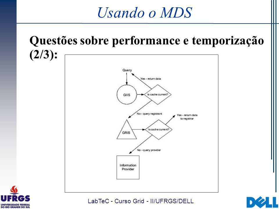 LabTeC - Curso Grid - II/UFRGS/DELL Usando o MDS Questões sobre performance e temporização (2/3):