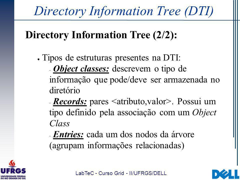 LabTeC - Curso Grid - II/UFRGS/DELL Directory Information Tree (DTI) Directory Information Tree (2/2): Tipos de estruturas presentes na DTI:  Object classes: descrevem o tipo de informação que pode/deve ser armazenada no diretório  Records: pares.