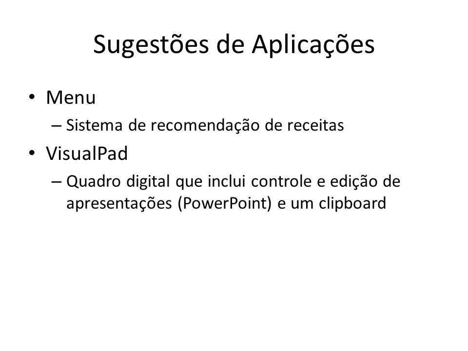 Sugestões de Aplicações Menu – Sistema de recomendação de receitas VisualPad – Quadro digital que inclui controle e edição de apresentações (PowerPoin