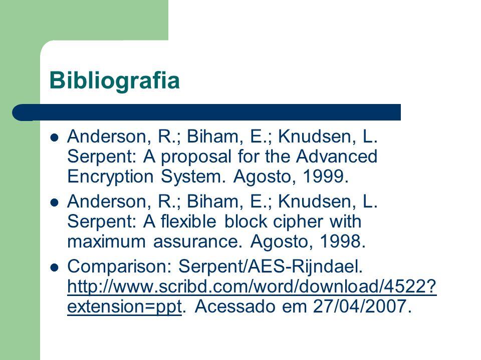 Bibliografia Anderson, R.; Biham, E.; Knudsen, L. Serpent: A proposal for the Advanced Encryption System. Agosto, 1999. Anderson, R.; Biham, E.; Knuds