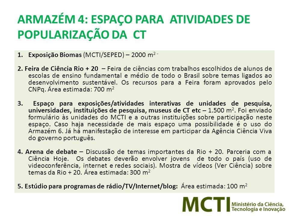 ARMAZÉM 4: ESPAÇO PARA ATIVIDADES DE POPULARIZAÇÃO DA CT 1.Exposição Biomas (MCTI/SEPED) – 2000 m 2 - 2.