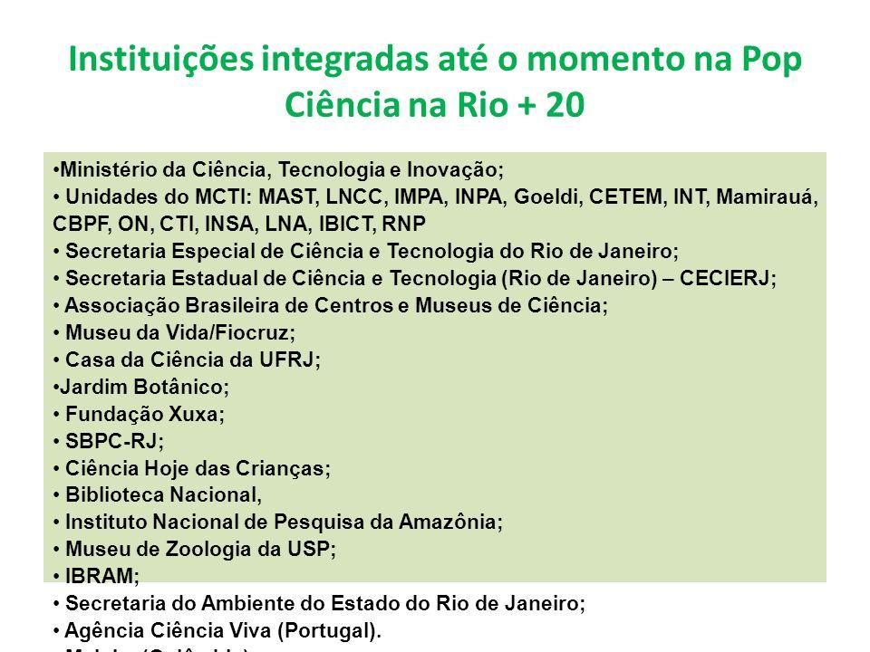 Instituições integradas até o momento na Pop Ciência na Rio + 20 Ministério da Ciência, Tecnologia e Inovação; Unidades do MCTI: MAST, LNCC, IMPA, INPA, Goeldi, CETEM, INT, Mamirauá, CBPF, ON, CTI, INSA, LNA, IBICT, RNP Secretaria Especial de Ciência e Tecnologia do Rio de Janeiro; Secretaria Estadual de Ciência e Tecnologia (Rio de Janeiro) – CECIERJ; Associação Brasileira de Centros e Museus de Ciência; Museu da Vida/Fiocruz; Casa da Ciência da UFRJ; Jardim Botânico; Fundação Xuxa; SBPC-RJ; Ciência Hoje das Crianças; Biblioteca Nacional, Instituto Nacional de Pesquisa da Amazônia; Museu de Zoologia da USP; IBRAM; Secretaria do Ambiente do Estado do Rio de Janeiro; Agência Ciência Viva (Portugal).