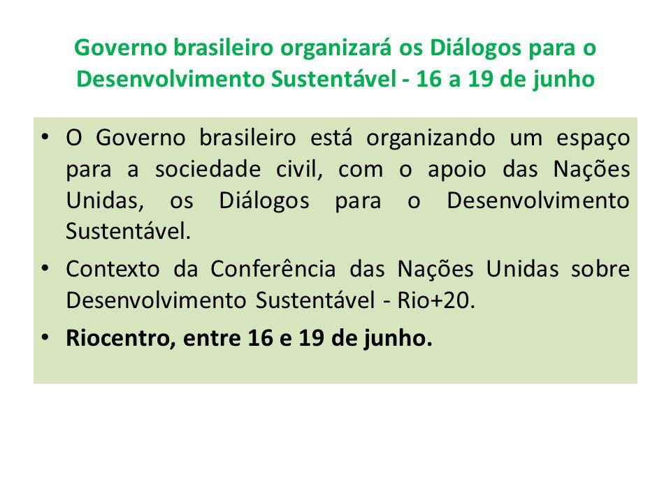 Governo brasileiro organizará os Diálogos para o Desenvolvimento Sustentável - 16 a 19 de junho O Governo brasileiro está organizando um espaço para a sociedade civil, com o apoio das Nações Unidas, os Diálogos para o Desenvolvimento Sustentável.