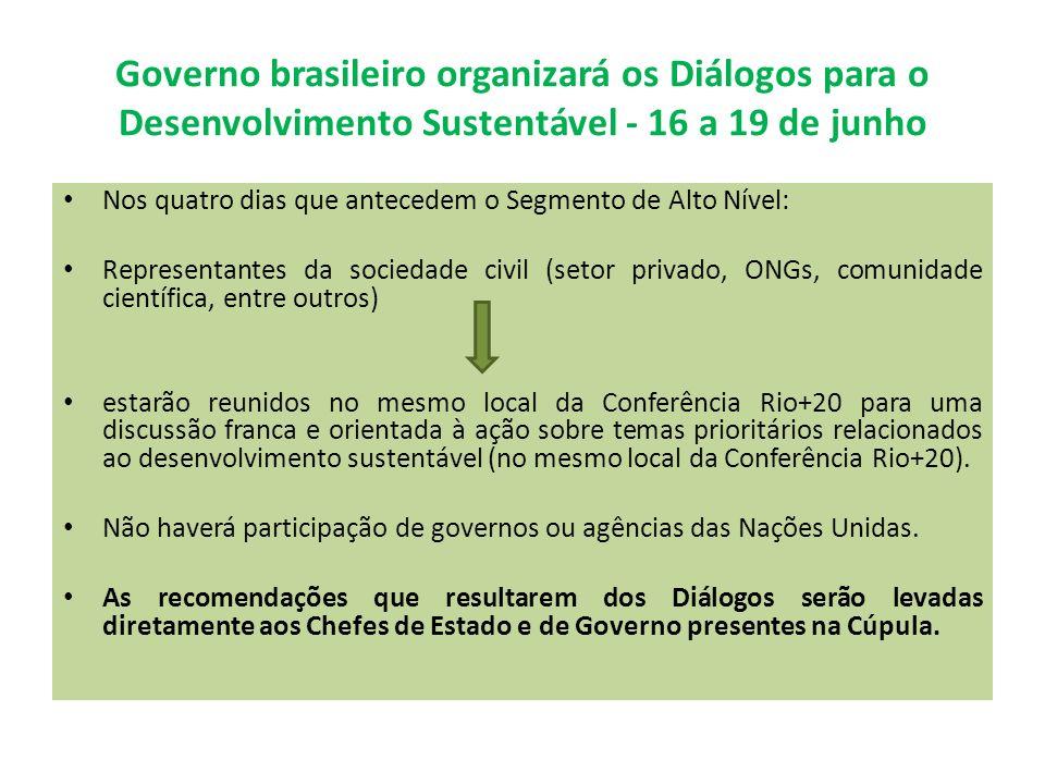 Governo brasileiro organizará os Diálogos para o Desenvolvimento Sustentável - 16 a 19 de junho Nos quatro dias que antecedem o Segmento de Alto Nível: Representantes da sociedade civil (setor privado, ONGs, comunidade científica, entre outros) estarão reunidos no mesmo local da Conferência Rio+20 para uma discussão franca e orientada à ação sobre temas prioritários relacionados ao desenvolvimento sustentável (no mesmo local da Conferência Rio+20).
