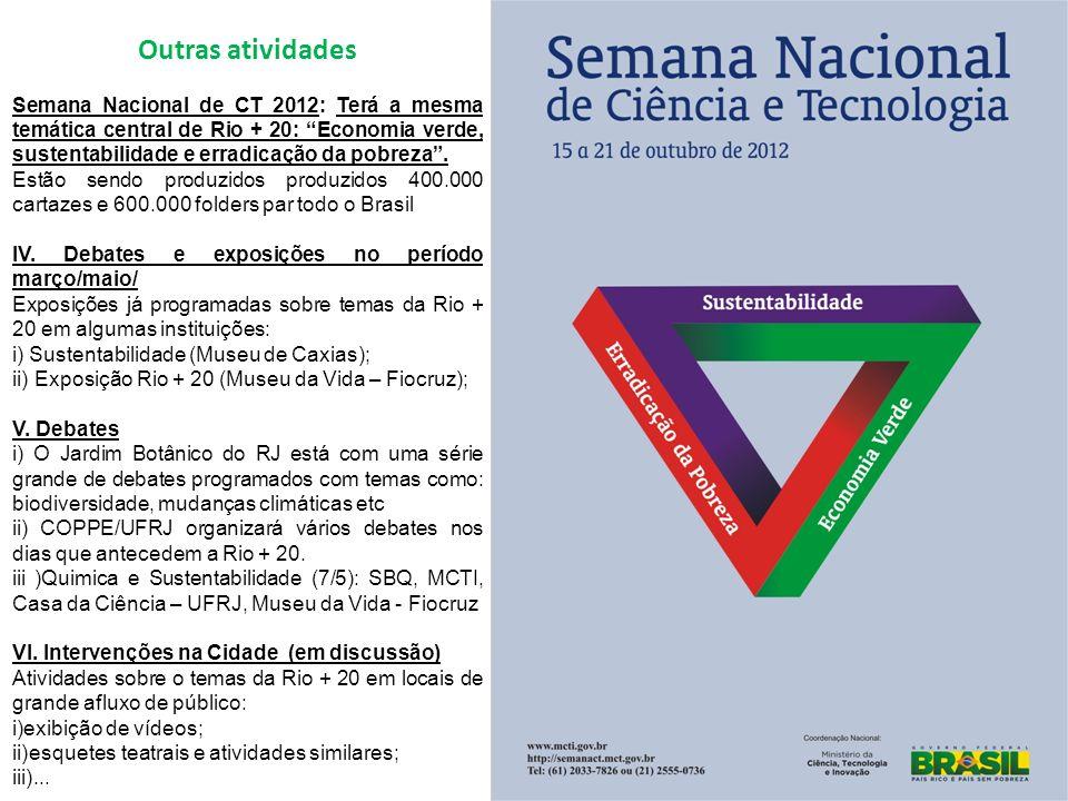 Outras atividades Semana Nacional de CT 2012: Terá a mesma temática central de Rio + 20: Economia verde, sustentabilidade e erradicação da pobreza.