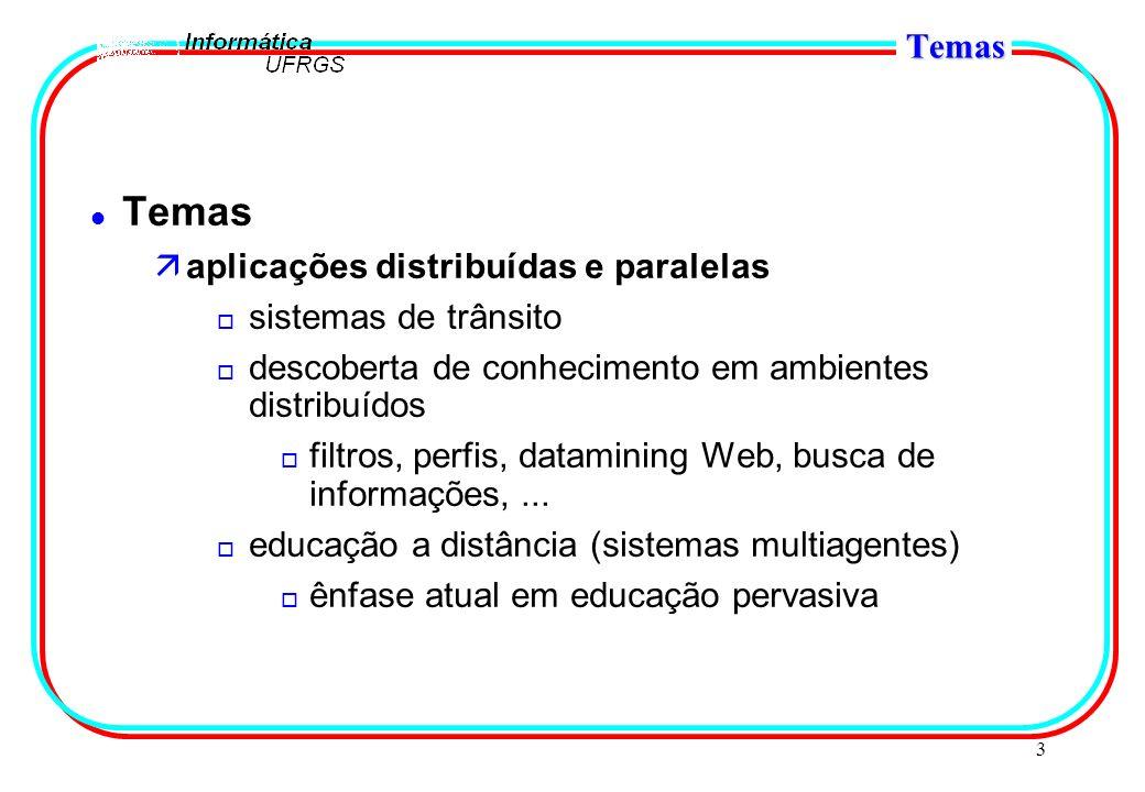 3 Temas l Temas äaplicações distribuídas e paralelas o sistemas de trânsito o descoberta de conhecimento em ambientes distribuídos o filtros, perfis, datamining Web, busca de informações,...