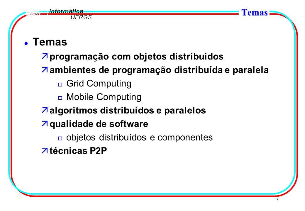 5 Temas l Temas äprogramação com objetos distribuídos äambientes de programação distribuída e paralela o Grid Computing o Mobile Computing äalgoritmos distribuídos e paralelos äqualidade de software o objetos distribuídos e componentes ätécnicas P2P