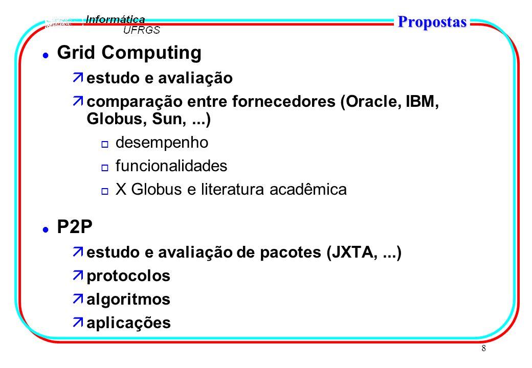 8 Propostas l Grid Computing äestudo e avaliação äcomparação entre fornecedores (Oracle, IBM, Globus, Sun,...) o desempenho o funcionalidades o X Globus e literatura acadêmica l P2P äestudo e avaliação de pacotes (JXTA,...) äprotocolos äalgoritmos äaplicações