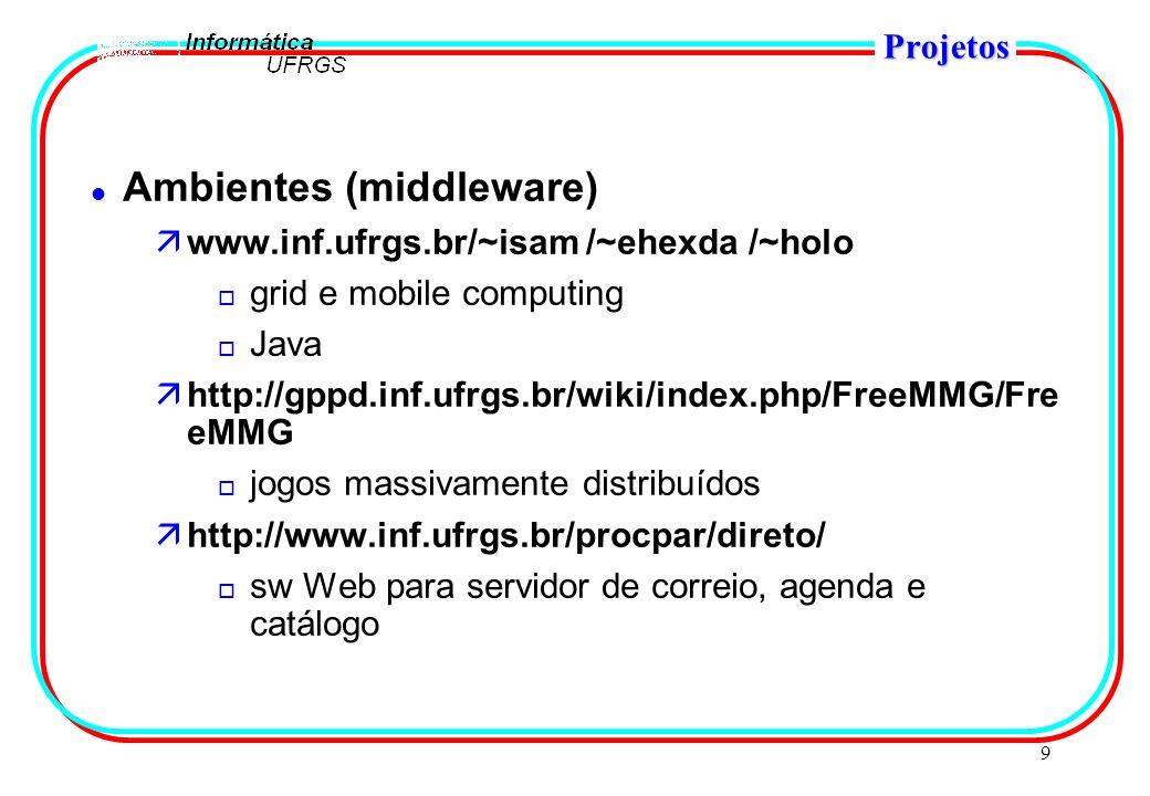 9 Projetos l Ambientes (middleware) äwww.inf.ufrgs.br/~isam /~ehexda /~holo o grid e mobile computing o Java ähttp://gppd.inf.ufrgs.br/wiki/index.php/FreeMMG/Fre eMMG o jogos massivamente distribuídos ähttp://www.inf.ufrgs.br/procpar/direto/ o sw Web para servidor de correio, agenda e catálogo