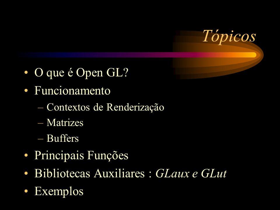 Tópicos O que é Open GL? Funcionamento –Contextos de Renderização –Matrizes –Buffers Principais Funções Bibliotecas Auxiliares : GLaux e GLut Exemplos