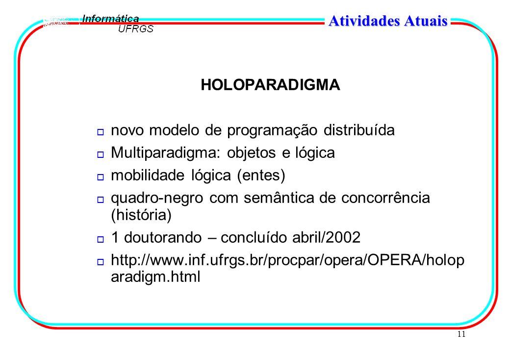 11 Atividades Atuais HOLOPARADIGMA o novo modelo de programação distribuída o Multiparadigma: objetos e lógica o mobilidade lógica (entes) o quadro-ne