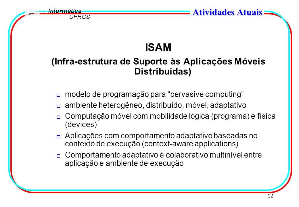 12 Atividades Atuais ISAM (Infra-estrutura de Suporte às Aplicações Móveis Distribuídas) o modelo de programação para pervasive computing o ambiente h