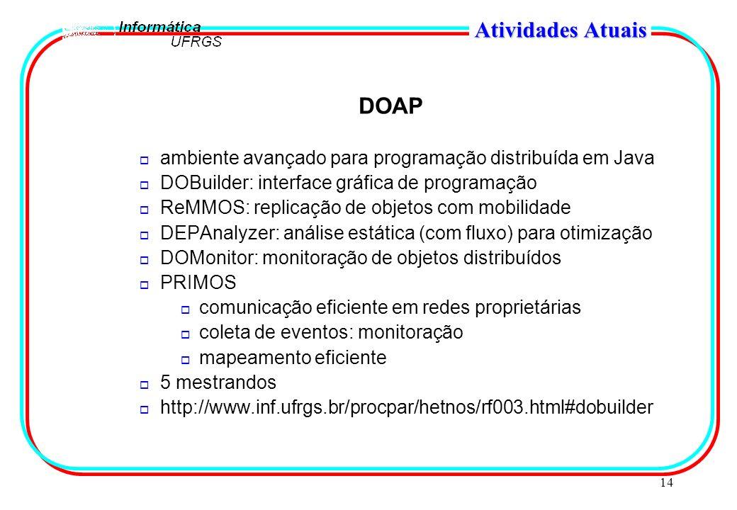 14 Atividades Atuais DOAP o ambiente avançado para programação distribuída em Java o DOBuilder: interface gráfica de programação o ReMMOS: replicação