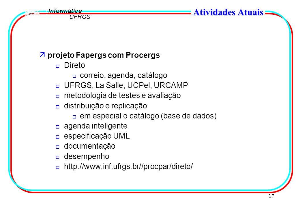 17 Atividades Atuais äprojeto Fapergs com Procergs o Direto o correio, agenda, catálogo o UFRGS, La Salle, UCPel, URCAMP o metodologia de testes e ava