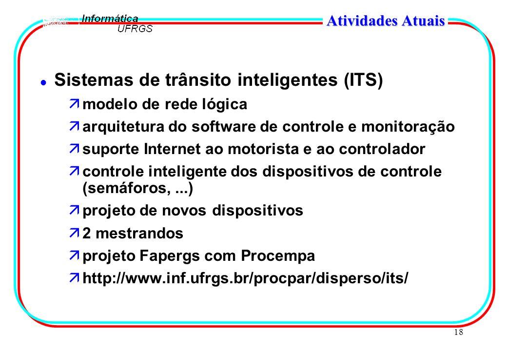 18 Atividades Atuais l Sistemas de trânsito inteligentes (ITS) ämodelo de rede lógica äarquitetura do software de controle e monitoração äsuporte Inte