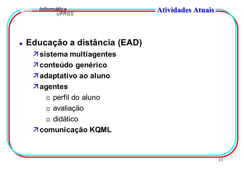 19 Atividades Atuais l Educação a distância (EAD) äsistema multiagentes äconteúdo genérico äadaptativo ao aluno äagentes o perfil do aluno o avaliação