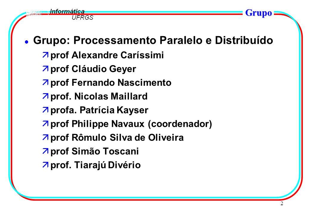 2 Grupo l Grupo: Processamento Paralelo e Distribuído äprof Alexandre Caríssimi äprof Cláudio Geyer äprof Fernando Nascimento äprof. Nicolas Maillard