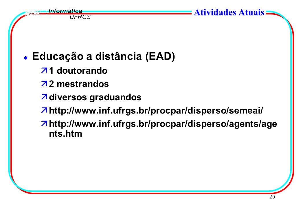 20 Atividades Atuais l Educação a distância (EAD) ä1 doutorando ä2 mestrandos ädiversos graduandos ähttp://www.inf.ufrgs.br/procpar/disperso/semeai/ ä