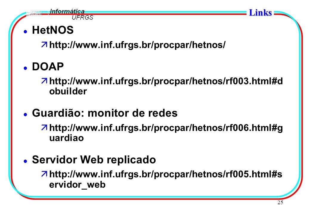 25 Links l HetNOS ähttp://www.inf.ufrgs.br/procpar/hetnos/ l DOAP ähttp://www.inf.ufrgs.br/procpar/hetnos/rf003.html#d obuilder l Guardião: monitor de