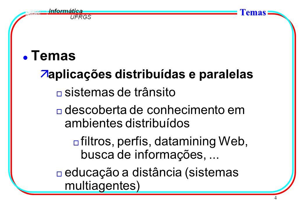 4 Temas l Temas äaplicações distribuídas e paralelas o sistemas de trânsito o descoberta de conhecimento em ambientes distribuídos o filtros, perfis,