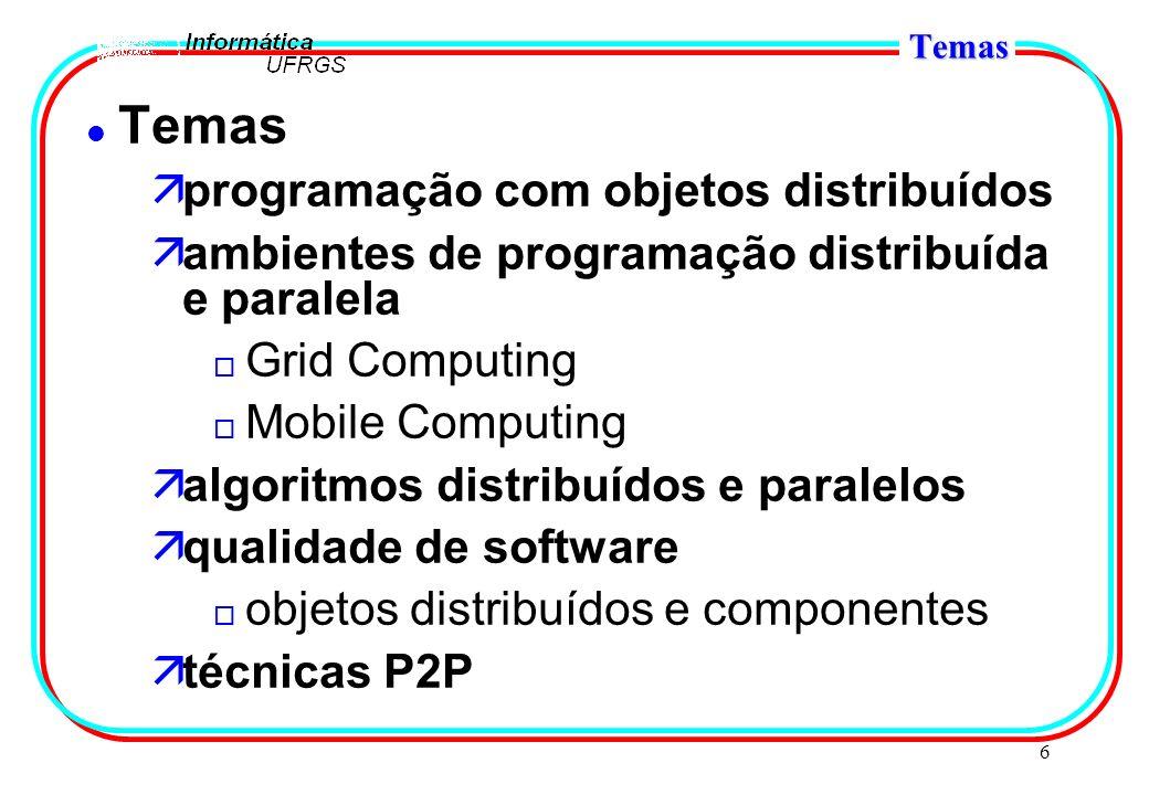 6 Temas l Temas äprogramação com objetos distribuídos äambientes de programação distribuída e paralela o Grid Computing o Mobile Computing äalgoritmos