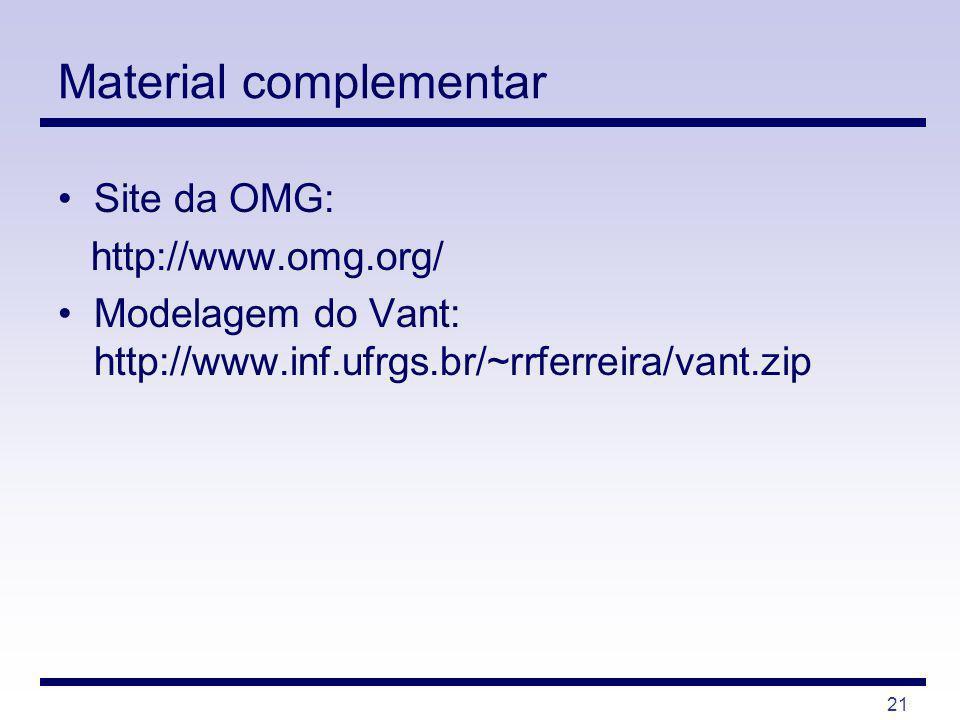21 Material complementar Site da OMG: http://www.omg.org/ Modelagem do Vant: http://www.inf.ufrgs.br/~rrferreira/vant.zip