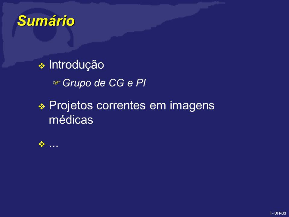 II - UFRGS Sumário Introdução F Grupo de CG e PI Projetos correntes em imagens médicas...