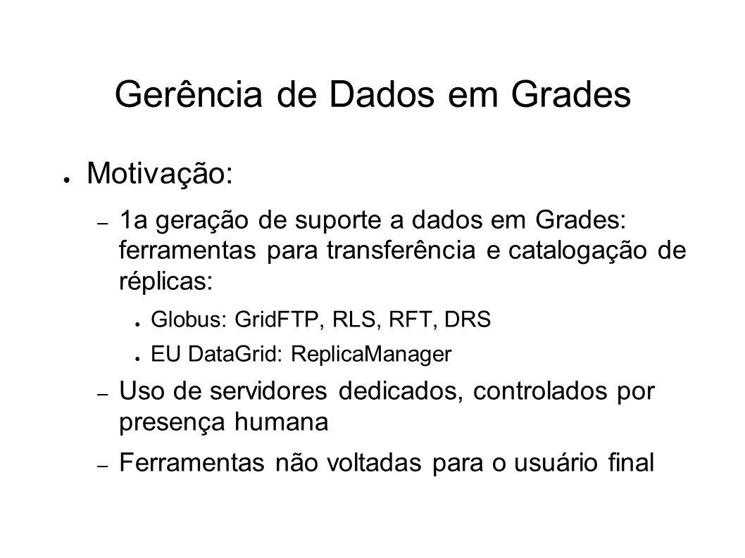 Gerência de Dados em Grades Motivação: – 1a geração de suporte a dados em Grades: ferramentas para transferência e catalogação de réplicas: Globus: Gr