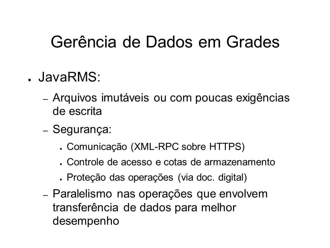 Gerência de Dados em Grades JavaRMS: – Arquivos imutáveis ou com poucas exigências de escrita – Segurança: Comunicação (XML-RPC sobre HTTPS) Controle de acesso e cotas de armazenamento Proteção das operações (via doc.