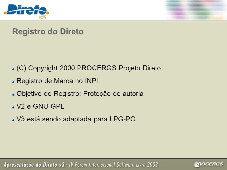 Registro do Direto (C) Copyright 2000 PROCERGS Projeto Direto Registro de Marca no INPI Objetivo do Registro: Proteção de autoria V2 é GNU-GPL V3 está sendo adaptada para LPG-PC