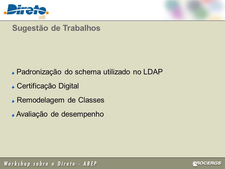 Sugestão de Trabalhos Padronização do schema utilizado no LDAP Certificação Digital Remodelagem de Classes Avaliação de desempenho
