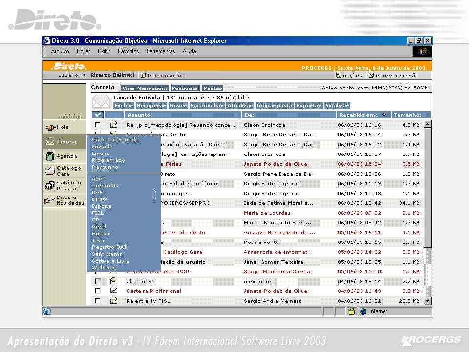 Caso Direto no Governo do RS Instalação centralizada na PROCERGS 33 organizações (+ 2 em início de implantação) 9.176 caixas postais