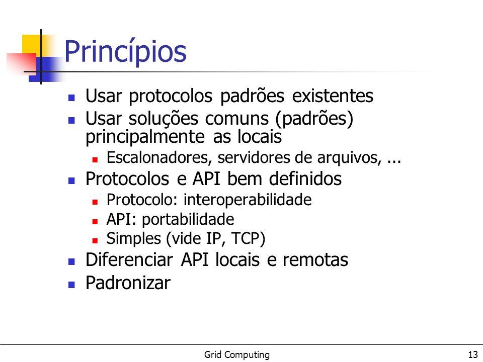 Grid Computing 13 Princípios Usar protocolos padrões existentes Usar soluções comuns (padrões) principalmente as locais Escalonadores, servidores de arquivos,...