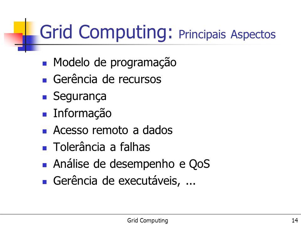 Grid Computing 14 Grid Computing: Principais Aspectos Modelo de programação Gerência de recursos Segurança Informação Acesso remoto a dados Tolerância