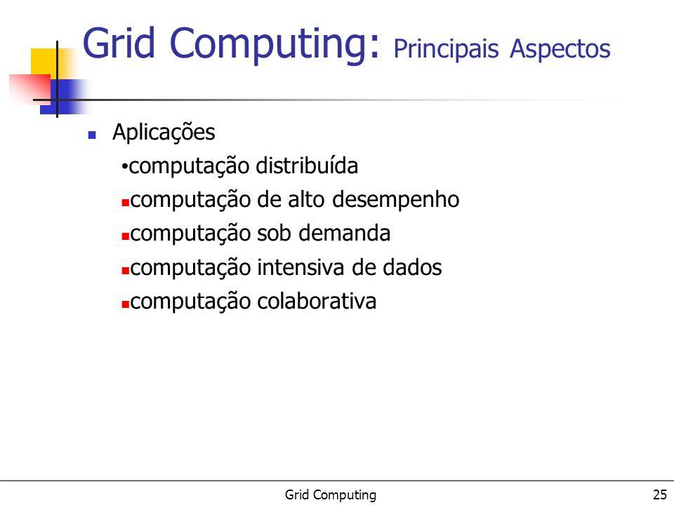 Grid Computing 25 Grid Computing: Principais Aspectos Aplicações computação distribuída computação de alto desempenho computação sob demanda computaçã