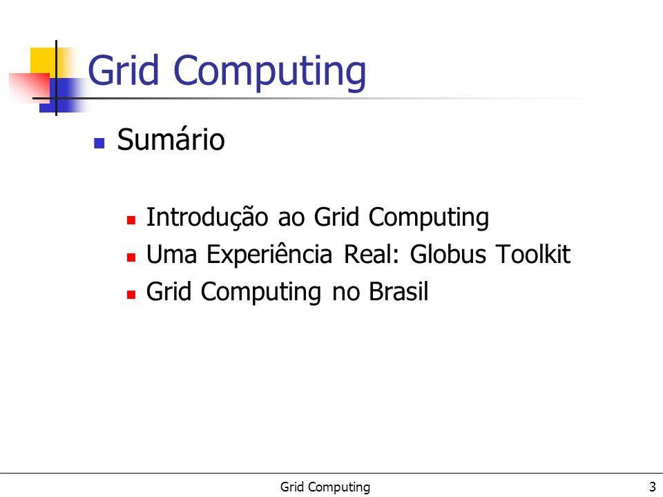 Grid Computing 3 Sumário Introdução ao Grid Computing Uma Experiência Real: Globus Toolkit Grid Computing no Brasil