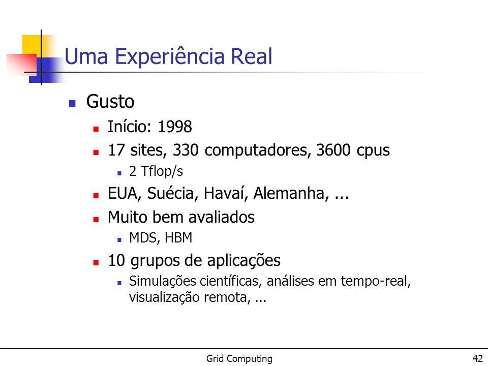 Grid Computing 42 Uma Experiência Real Gusto Início: 1998 17 sites, 330 computadores, 3600 cpus 2 Tflop/s EUA, Suécia, Havaí, Alemanha,... Muito bem a