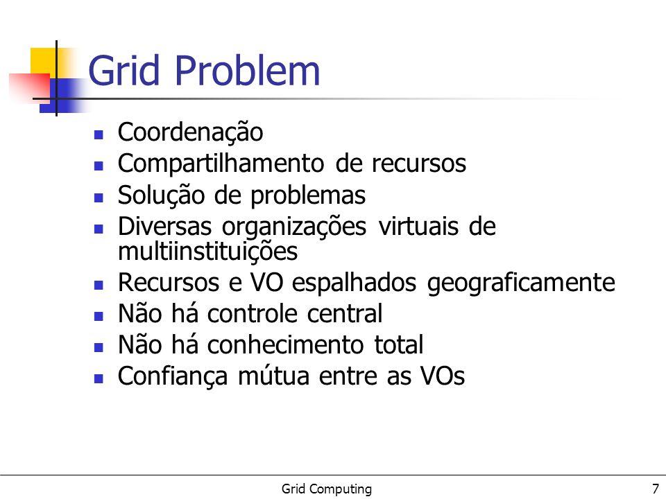 Grid Computing 7 Grid Problem Coordenação Compartilhamento de recursos Solução de problemas Diversas organizações virtuais de multiinstituições Recursos e VO espalhados geograficamente Não há controle central Não há conhecimento total Confiança mútua entre as VOs