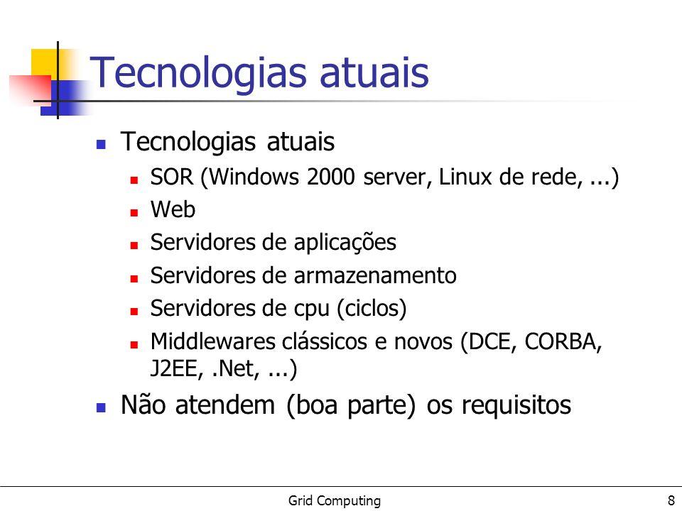 Grid Computing 8 Tecnologias atuais SOR (Windows 2000 server, Linux de rede,...) Web Servidores de aplicações Servidores de armazenamento Servidores d