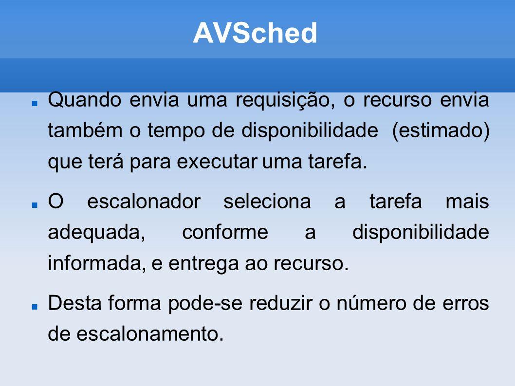 AVSched Testes: Em desenvolvimento.Protótipo para testes foi desenvolvido e integrado ao XW.